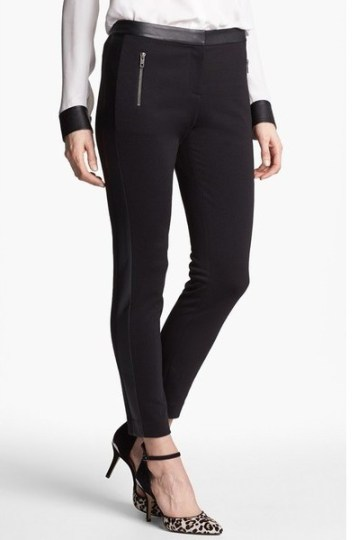 Halogen® Faux Leather Trim Skinny Ankle Pants_$34