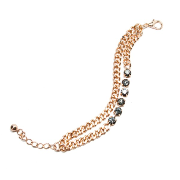 T+J Designs Double Chain & Crystal Bracelet, $10