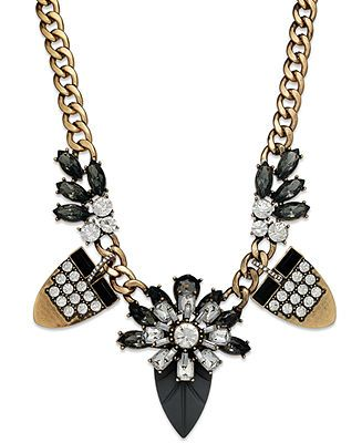Bar III Gold-Tone Black Crystal Flower Frontal Necklace $48