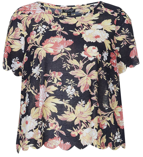 TOPSHOP TOILE FLOWER SCALLOP TEE $35