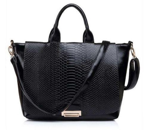 US Trendy reptile imprint black shoulder handbag $69