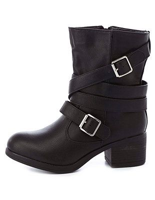 Bamboo Belt-Wrapped Chunky Heel Moto Boots, Charlotte Russe $43
