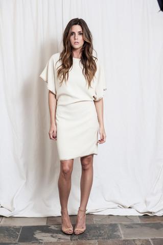 Boatneck Dress w/Elastic Back, Blaque Label, $121