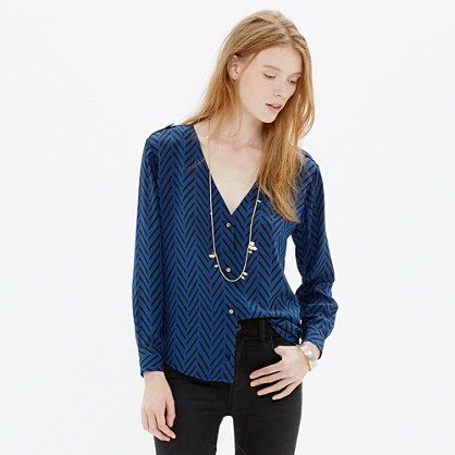 Madewell et sézane silk blouse in chevron sketch $138