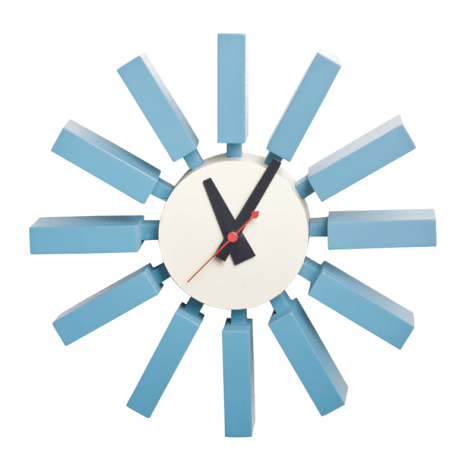 Mod-Made-Blue Wooden Spoke Wall Clock-$85