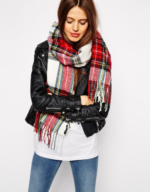 ASOS White Plaid Check Scarf
