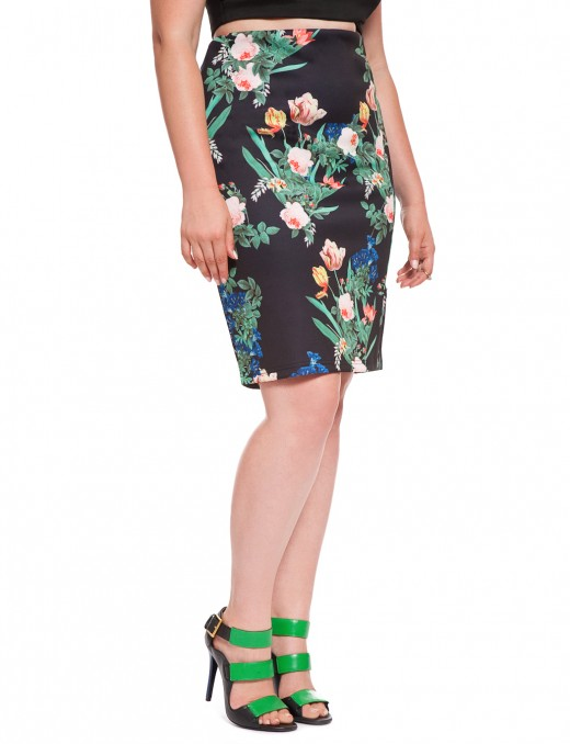 Hot Buy | Eloquii  Floral Scuba Pencil Skirt