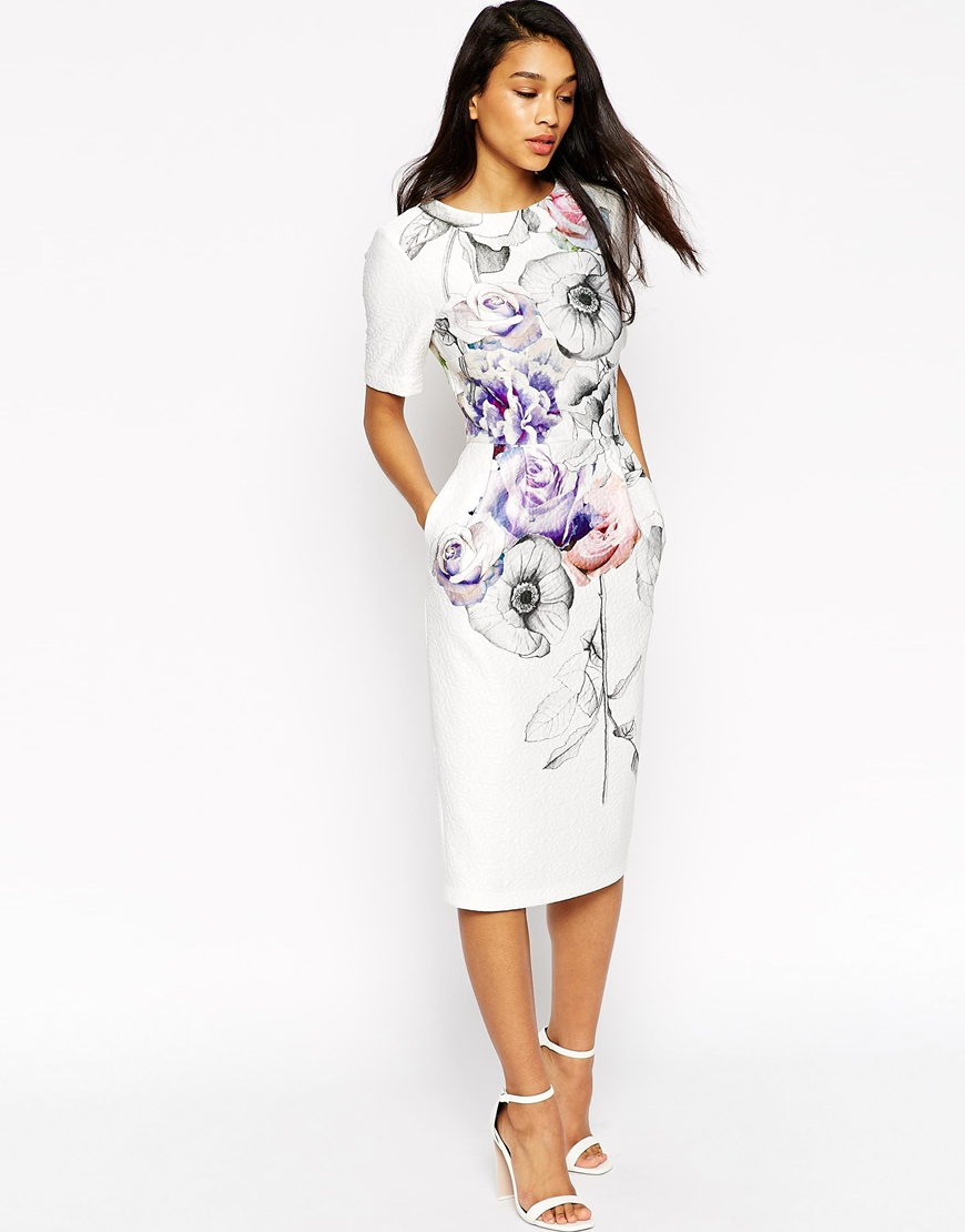 ASOS Wiggle Dress In Jacquard With Watercolour Sketch Floral