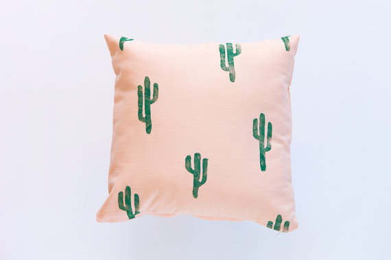 Confetti Riot Shop Green and Peach Cactus Print Pillow