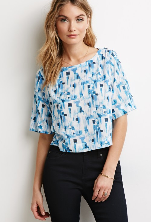 Forever 21 Watercolor Abstract Print Blouse