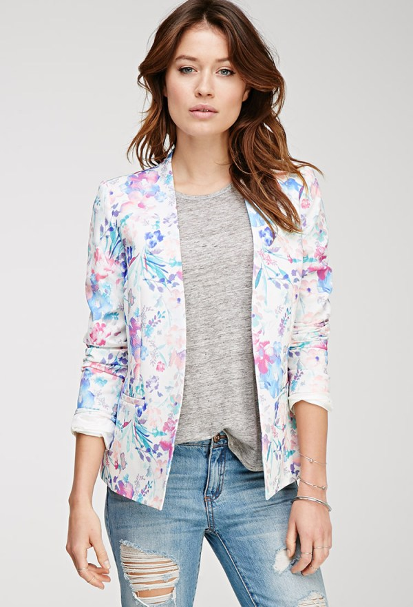 Forever21 Watercolor Floral Print Blazer