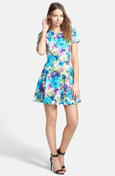 One Clothing Floral Print Cutout Back Skater Dress