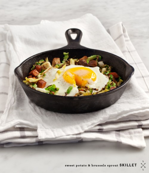Sweet Potato + Brussels Skillet