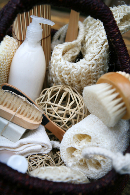 Basket full of body care products