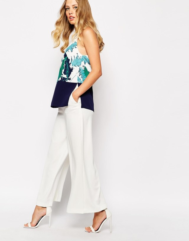 Whistles Pamous Print Panel Hem Strappy Top