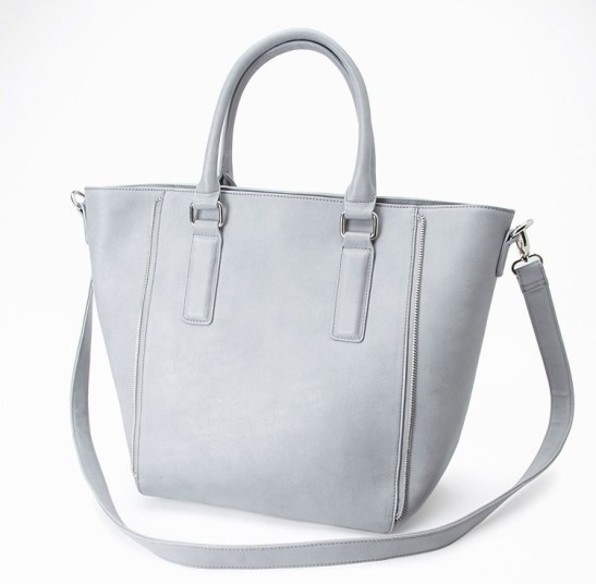 Zipper-Trim Faux Leather Tote-Forever21
