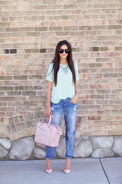 Distressed Denim Mint Tee