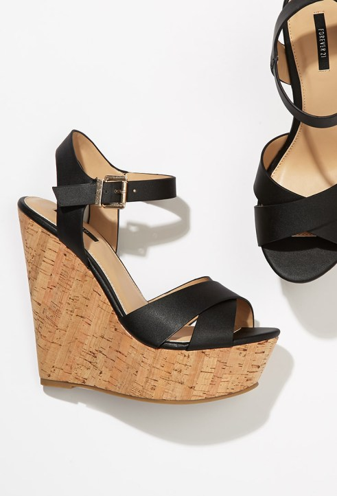 Forever 21 Strappy Cork-Sole Platform Wedges