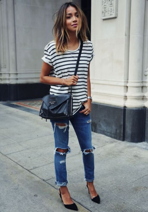 distressed denim striped tee