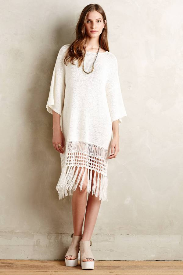 Anthropologie Fringe Sweater Dress