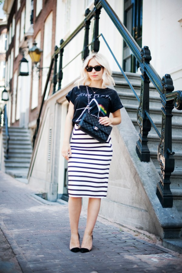 graphic tee striped skirt