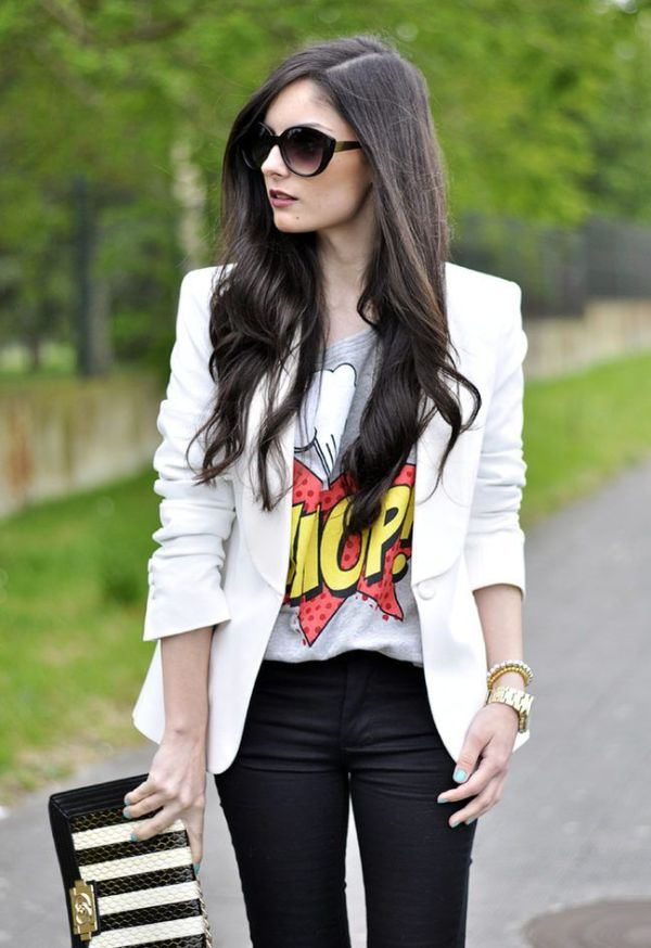 graphic tee white blazer