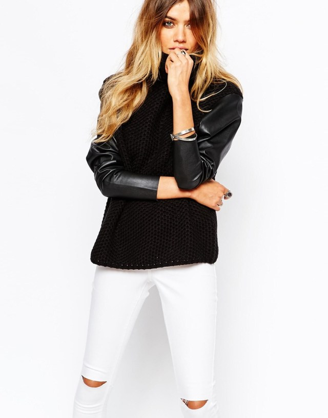 Noisy May Collie Roll Neck Knit With Leather Look Sleeve