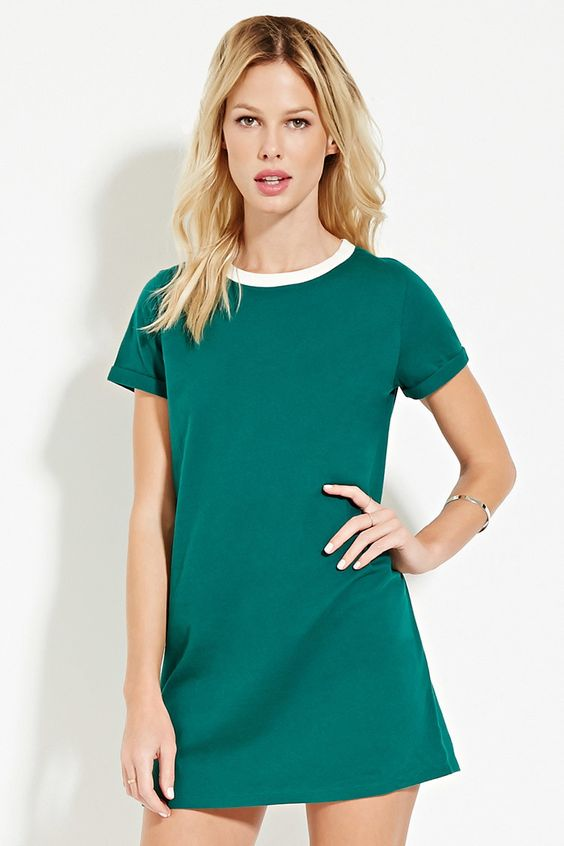 Contrast-Neck T-Shirt Dress