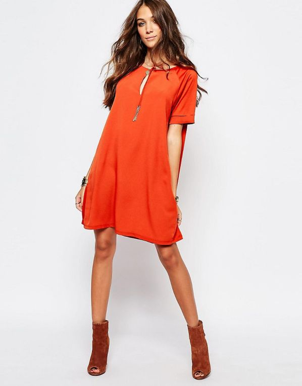 First & I Tie Detail Shift Dress