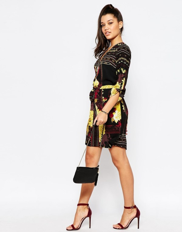 River Island Printed Zip Front Shirt Dress