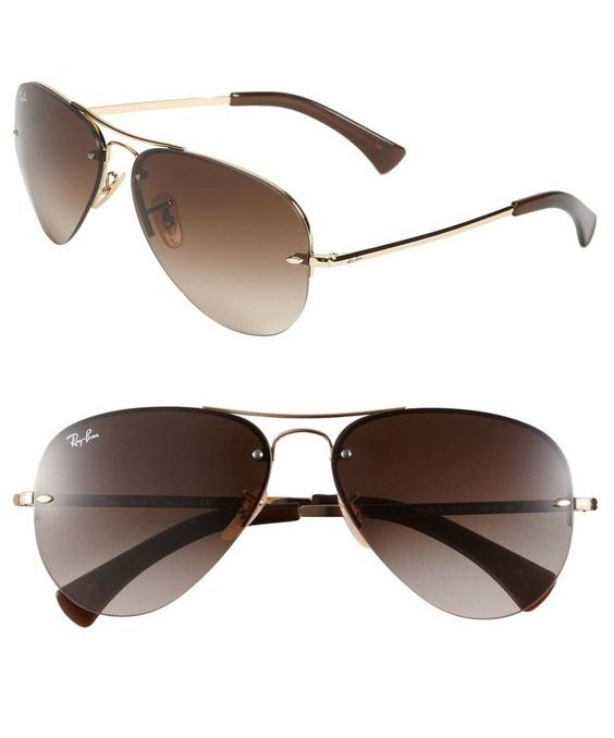Ray-Ban 59mm Semi Rimless Aviator Sunglasses