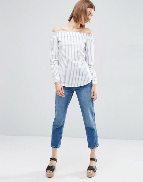 ASOS Off Shoulder Stripe Cotton Wrap Back Top