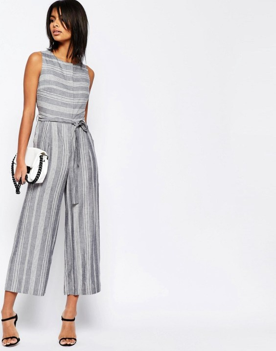 ASOS Stripe Jumpsuit in Natural Fabric