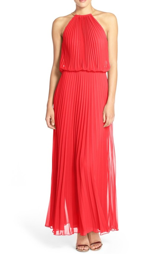 Xscape Pleated Chiffon Blouson Dress