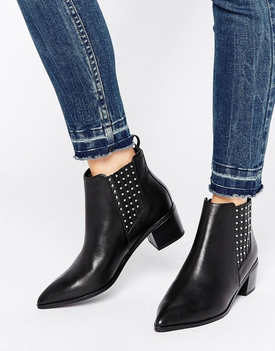 Office Amber Stud Leather Heeled Chelsea Boots