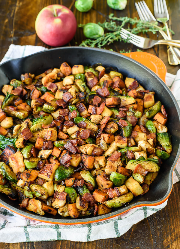 harvest-chicken-skillet-with-sweet-potatoes-brussels-sprouts-and-sauteed-apples
