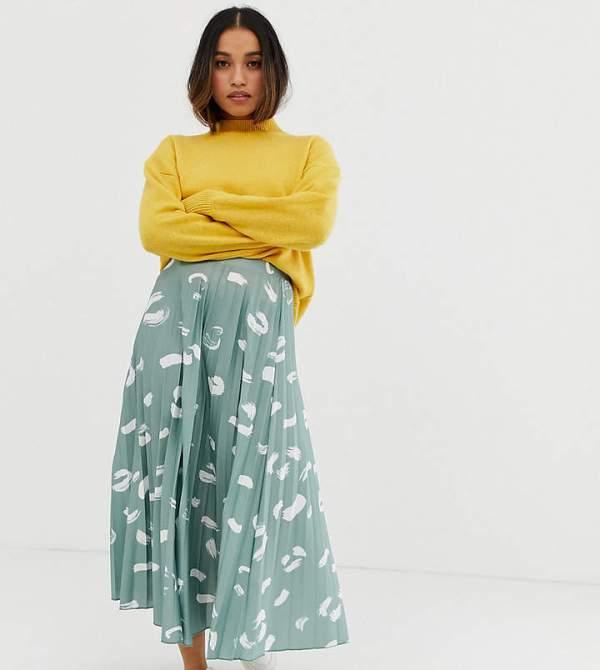 ASOS DESIGN Petite pleated midi skirt in brush stroke print