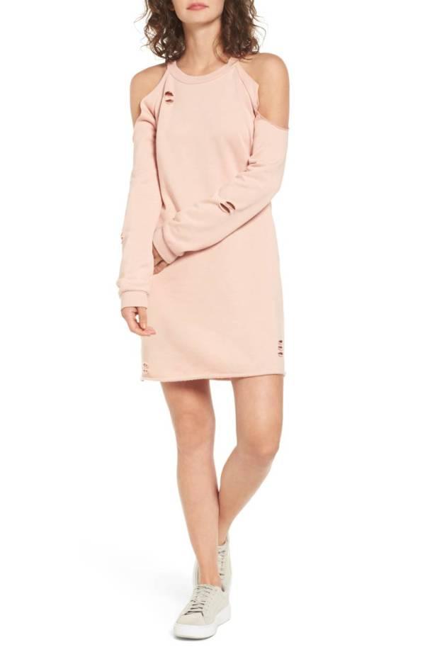Cold-Shoulder Sweatshirt Dress