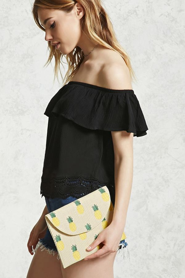 FOREVER 21+ PINEAPPLE STRAW CLUTCH