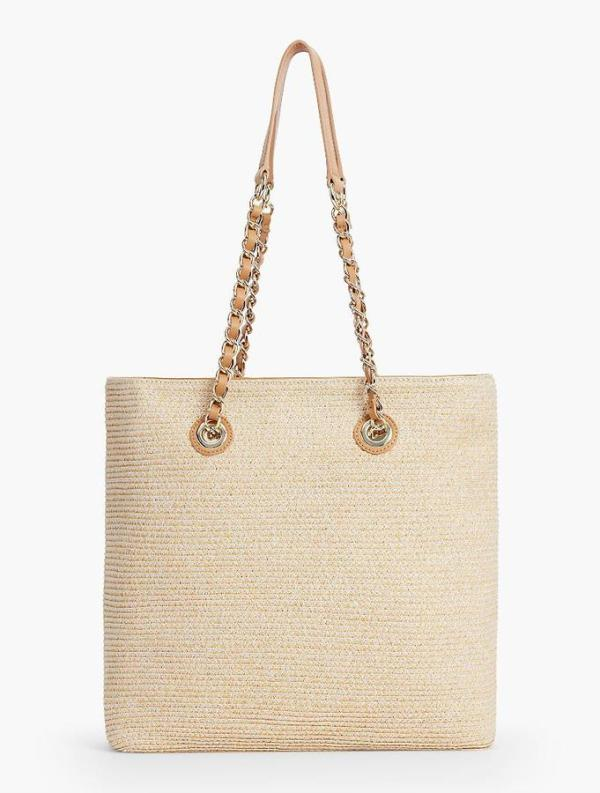 HEATHERED STRAW TOTE