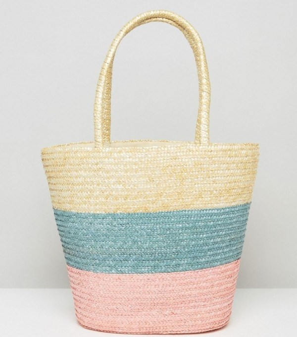 RECLAIMED VINTAGE PASTEL STRIPE STRAW BAG