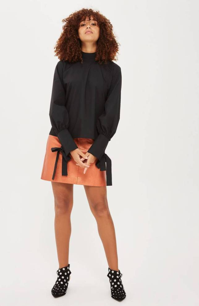 Topshop High Neck Tie Sleeve Blouse2