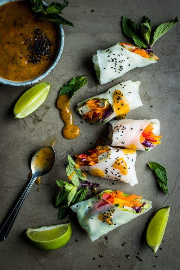 Vegan Summer Rolls with Dipping Sauce Two-Ways