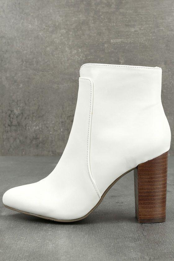 MIA Rosebud White Ankle Booties2