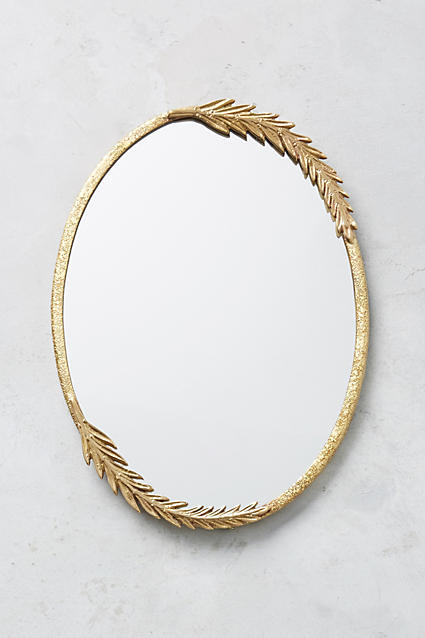 Anthropologie Olive Leaf Mirror