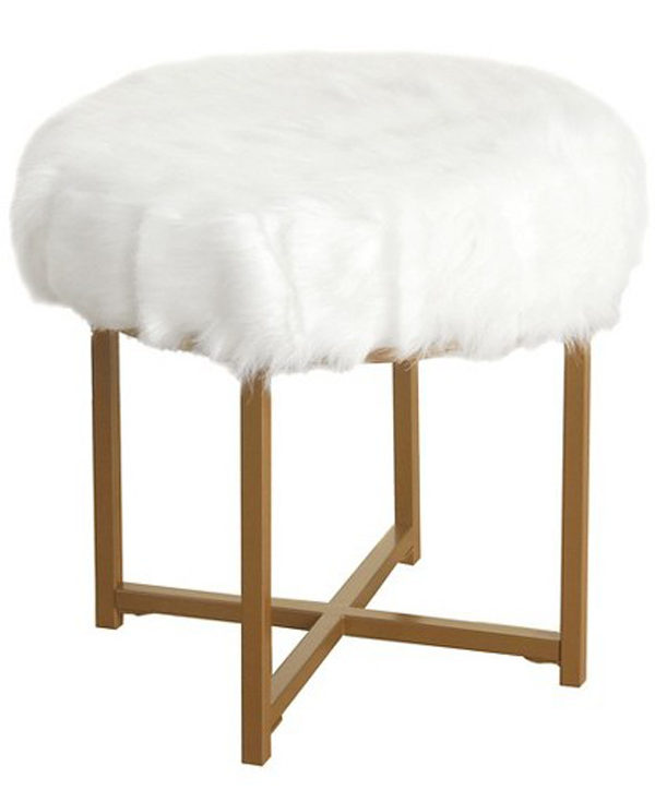HomePop Faux Fur White Round Stool