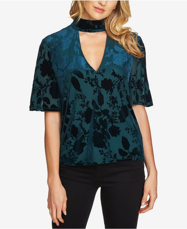 1.state Crushed-Velvet Choker Top