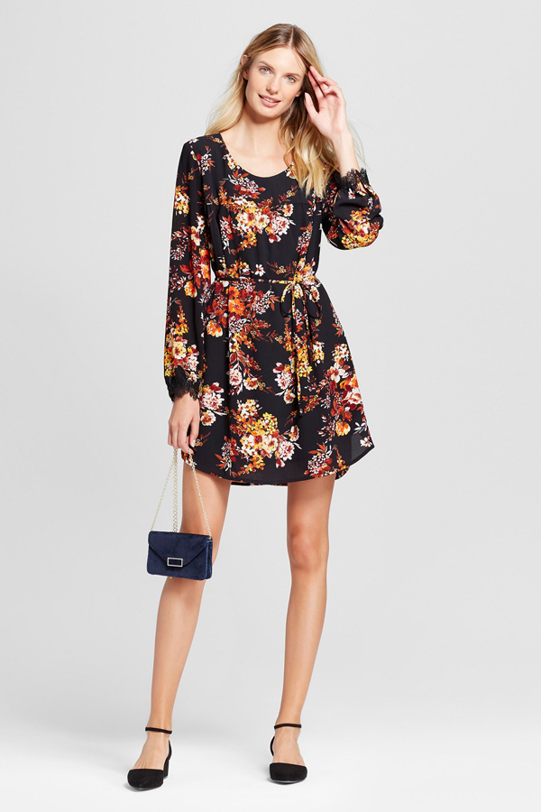 A New Day Long Sleeve Floral Lace Detail Crepe Dress