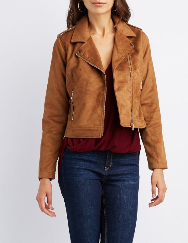 Charlotte Russe Faux Suede Moto Jacket