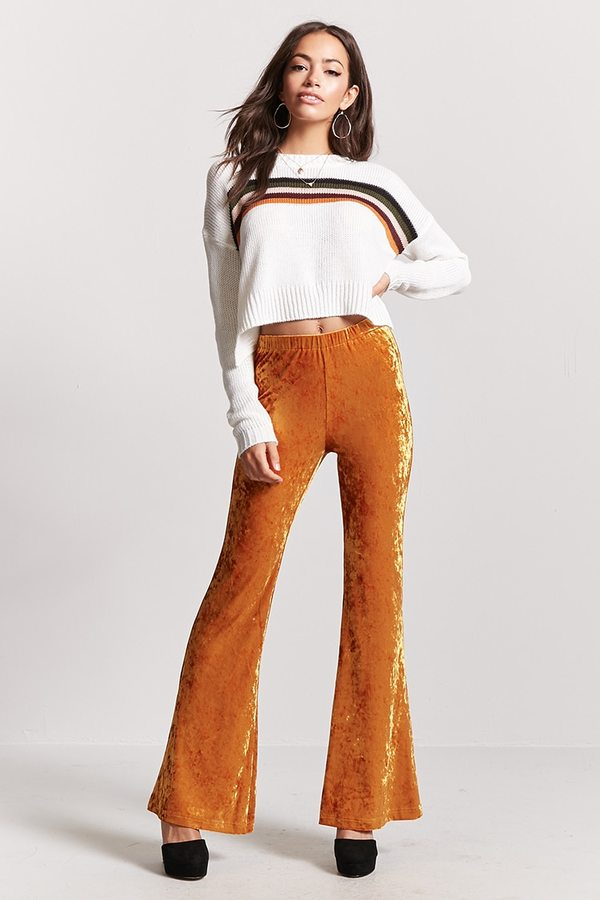 FOREVER 21 Crushed Velvet High-Waist Flared Pants